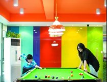 Students playing snooker in Student Common Room, Ningbo