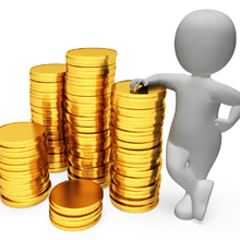 Stack of coins with a clip art person standing next to them