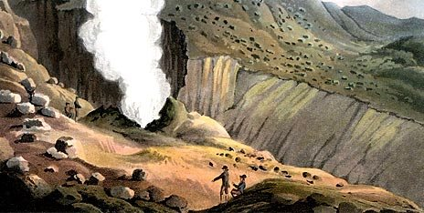 pic07 - Great Jet of Steam on the Sulphur Mountains, from 'Travels in the Island of Iceland' by Sir George Steuart Mackenzie (1812)
