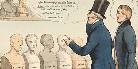 pic12 - Political cartoon, titled 'The Noddle Bazaar', showing the Duke of Wellington and Sir Robert Peel studying busts representing various political figures.  By John Doyle ('H.B.')