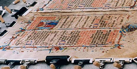 pic15 - Pages from the Wollaton Antiphonal undergoing conservation