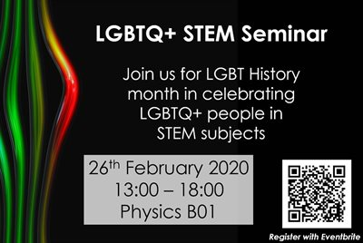 LGBTQ+ seminar picture- contains all informationin text and pride colour swirls.