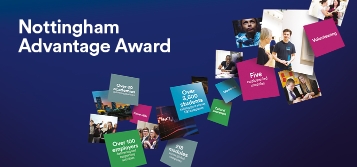 Nottingham Advantage Award promotion image with floating tiles displaying opportunities such as internships, part-time work etc
