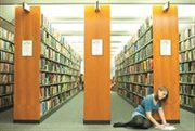 Female-undergraduate-student-in-Hallward-Library