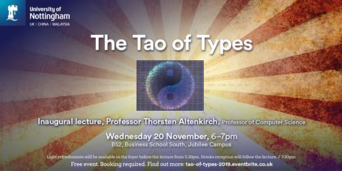 The tao of types talks poster with yin and yang symbol