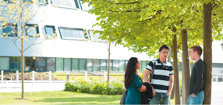 postgraduates outside sir colin campbell building jubilee campus