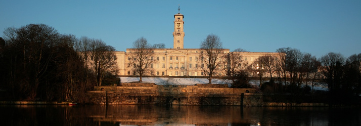 Trent Building in snow from lake 714x249