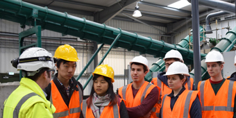 A group of undergraduate students on a field trip to Severn Trent Water.
