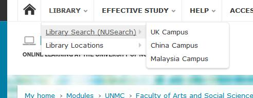 NUsearch screenshot demonstrates the search engine link within Moodle
