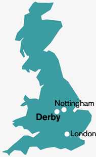 Map showing Derby location within the UK