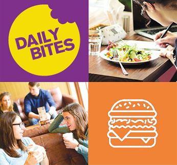 Students enjoying refreshments in our cafés, bars and restaurants, Daily Bites logo and hamburger icon