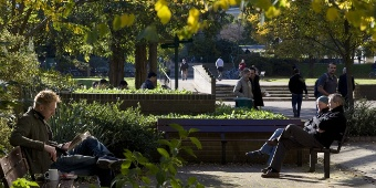 image of people sitting benches in garden