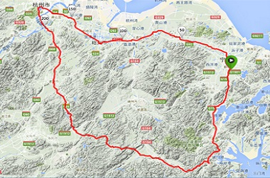 Map of the route through Zhejiang Province - Life Cycle 6 China