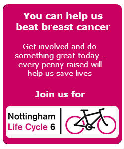 Graphic - help us beat breast cancer - support our research by taking part in Life Cycle 6