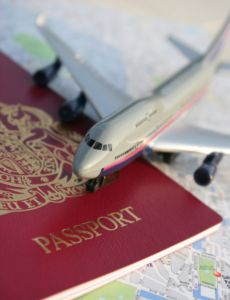 Aeroplane, passport and map