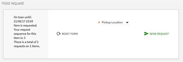 Hold request showing the drop down Pickup location field