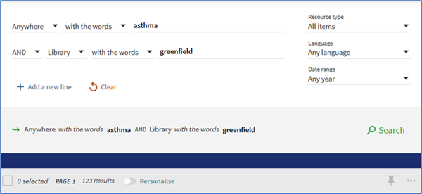 Advanced search for items in Greenfield Library on asthma