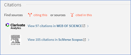 Citations section in full article record showing citation icons and links to databases to see full text citations