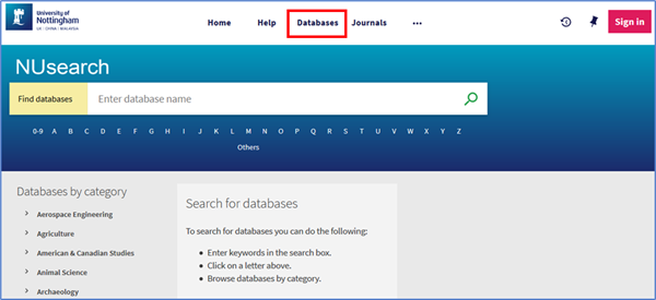 Find Databases search screen