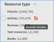 "Showing the exclude filter symbol for the ""Articles"" resource type filter"