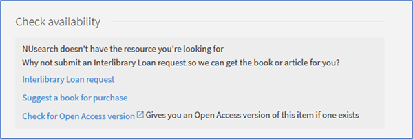 Check availability section of full article record giving options for interlibrary loan, suggestion for purchase and check for open access versionggestion