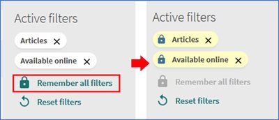 "Showing how to lock two filter for ""Articles"" and ""Available online"" using ""Remember all filters"" option"