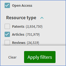 "Selecting multiple filters of ""Articles"" and ""Open access"""