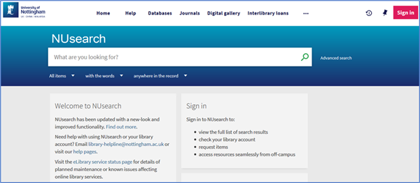 NUsearch home page showing the basic search