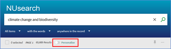 Showing the Personalise button under the search box