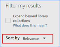 "Showing the ""Sort by"" dropdown option in Filter my results"