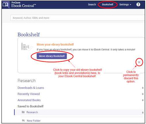 "Screenshot showing a button ""Move ebrary bookshelf"" to copy your bookshelf"