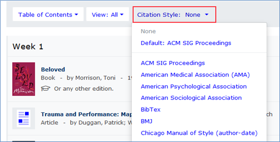 Showing the citation style menu