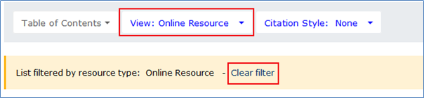 Filtering by Online Resource with the option to clear a filter