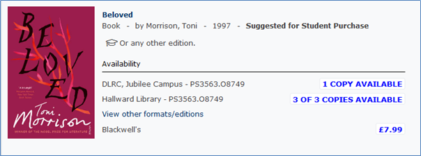Showing the Availability section of a book with details of library copies