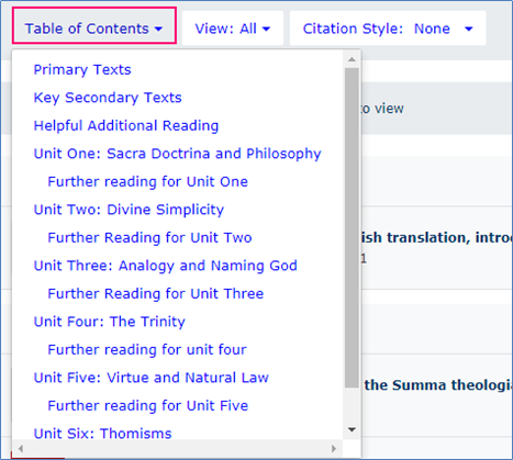 Showing a reading list table of contents