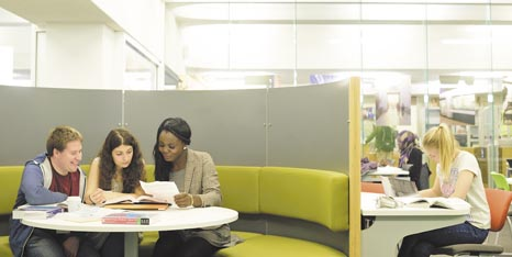 Group of students working together in a library