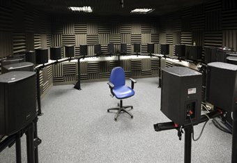 Testing room showing a circular array of loudspeakers