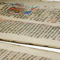 Unbound pages from the Wollaton Antiphonal, prior to conservation