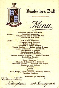 From the University Archives, a menu from the Bachelor's Ball on 15th January 1909, held at the Victoria Hall, Talbot Street, Nottingham