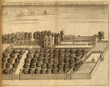 The South East Prospect of Ansley [Annesley] House [Nottinghamshire], by Richard Hall, 1676, published in Thoroton's 'The antiquities of Nottinghamshire'