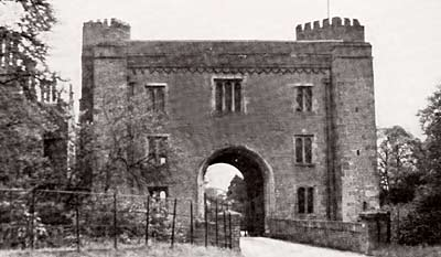 Black and white photograph of Hodsock Priory Gatehouse