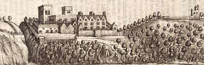 Etching showing Clifton Hall