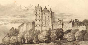 Engraving showing Bolsover Castle from 1823