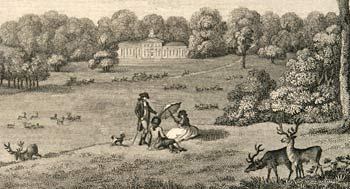 Engraving showing Bulstrode Park from 1787