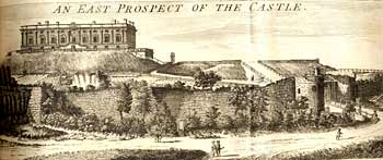 Engraving showing Nottingham Castle from 1790