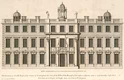 Engraving of front elevation of the 2nd Thoresby House, built by Carr