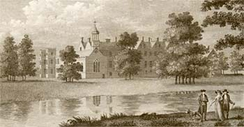 Engraving showing Welbeck Abbey from 1788