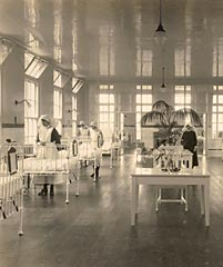 Photograph taken in a ward on the new wing in 1927