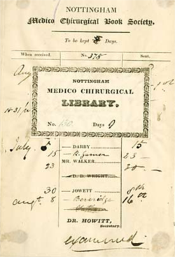 Medico-Chirurgical Society Library loan record and book plate