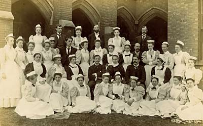 Group photograph of staff at Nottingham General Hospital from about 1895